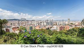 barcelona city view barcelona city view at summer time spain stock photo search