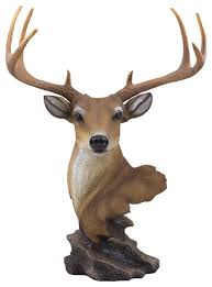 8 point antlers on buck bust decorative deer statue