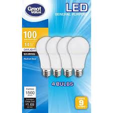 daylight led light bulbs great value led light bulbs 14w 100w equivalent daylight 4 pack