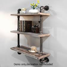 Industrial Pipe Bookcase 3 Rustic Industrial Pipe U0026 Timber Wall Shelves 61cm Buy Wall Shelves