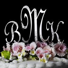 w cake topper silver sparkle accented monogram wedding