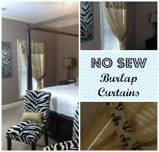 Burlap Ruffle Curtains Decorating No Sew Burlap Curtains For Dazzling Home Decoration Ideas