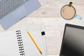 Desk Mug Hero Header Image Of Tidy Desktop With Mug Of Coffee Stock Photo