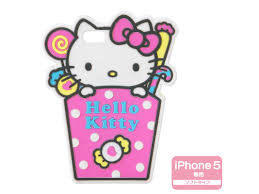 kitty iphone 5 silicone soft type cover case sweets cup