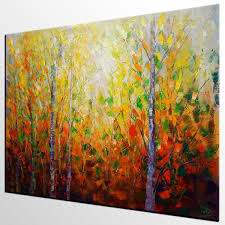 Oversized Wall Art by Autumn Tree Painting Large Wall Art Landscape Painting Large