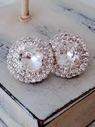 large stud earrings clear white stud earrings bridal stud earring