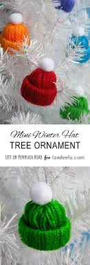 diy tree ornaments to make winter hats yarn crafts