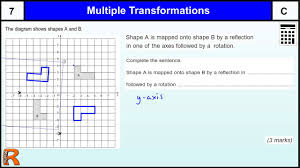 describing transformations reflection and rotation gcse maths