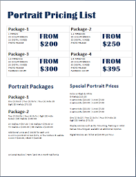 photographer prices photography price list template word document templates