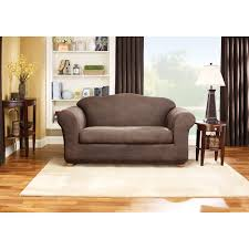 T Cushion Sofa Slipcover by Sure Fit Stretch Leather Two Piece Loveseat Slipcover Hayneedle