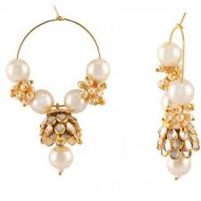 pachi earrings aabhu ston studded gold plated pearl beaded jhumka bali pachi