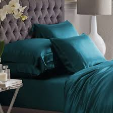 teal silk bed linen from high quality mulberry silk