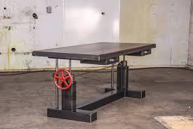 crank sit stand desk u2013 vintage industrial furniture