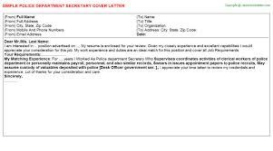 police department secretary cover letter