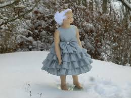 silver flower dress grey girls ruffle dress winter