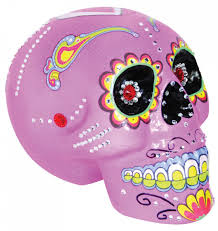 day of the dead pink sugar skull prop halloween party decor trunk