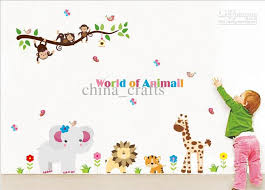 Wholesale Removable Kids Wall Stickers World Of Animals Wall Art - Animal wall stickers for kids rooms