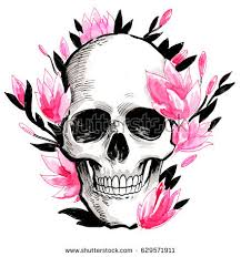 skull flowers stock illustration 629571911