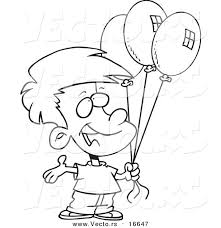 birthday boy coloring pages vector of a cartoon birthday boy holding three balloons outlined