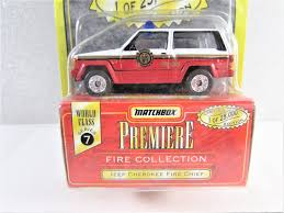 jeep cherokee fire matchbox jeep cherokee fire chief premiere collection nip
