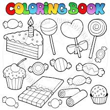 candy coloring pages cartoon coloring book candy and desserts by clairev toon vectors