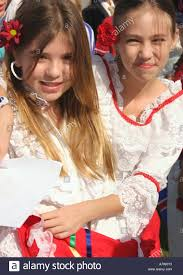 Girls Dressing In National Costumes On United Nations Day