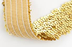 sequin ribbon ribbon gold 45mm elastic