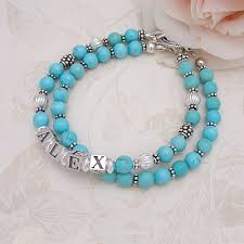 beaded name bracelets blue turquoise mothers bracelet includes one name strand