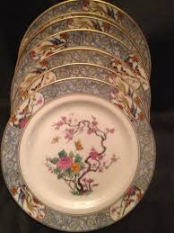 lenox china set of 9 salad plates 8 3 8 birds floral scrolls