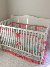 Boho Crib Bedding by Baby Crib Bedding Set Ruffled Gold Coral And Mint Boho Arrows