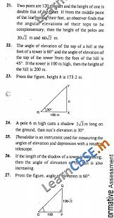 cbse class 10 maths some applications of trigonometry objective