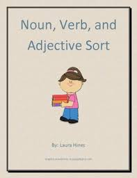noun verb and adjective leveled cut and paste sorting activity