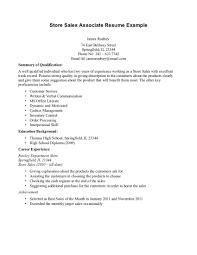 Sales Resume Example Retail Sales Representative Job Description Resume Free Resume