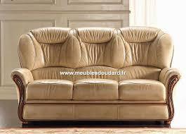 canape cuir et bois salon cuir réf tania canapé 2 fauteuils