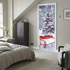 3d diy door sticker christmas tree with snow u0026 gifts wall stickers
