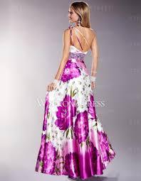 one shoulder taffeta floral pattern discount prom dress