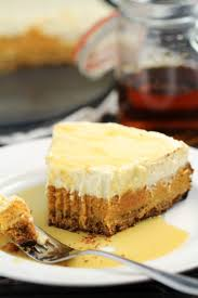 layered maple pumpkin cheesecake pie frugal eh