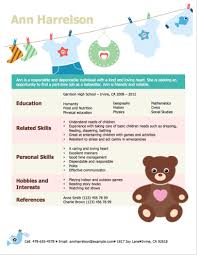 Hobbies And Interests On Resume Examples by 3 Free Baby Sitter Resume Samples In Word