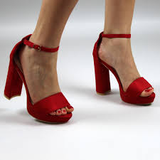 red ankle strap heels open toe strappy sandals forever fever