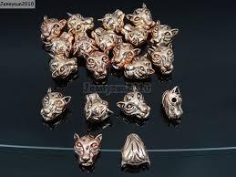 solid metal bracelet images Solid metal tiger head bracelet necklace connector charm beads jpg