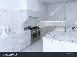 kitchen cabinet 3d luxurious white kitchen cabinet cooking island stock illustration