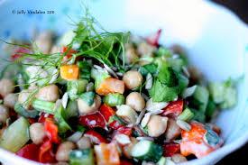 chickpeas salad with sesame and garlic dressing jolly vindaloo
