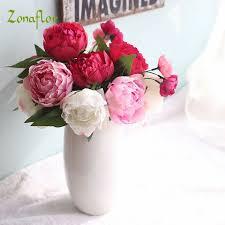 artificial flowers for home decoration zonaflor artificial flowers peony bride bouquet silk fake wedding