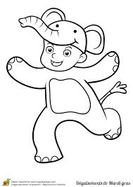 dessin d u0027un enfant déguisé en éléphant pour le mardi gras à colorier