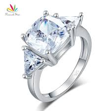 luxury diamonds rings images Cushion cut 4 carat solid 925 sterling silver ring party luxury jpg