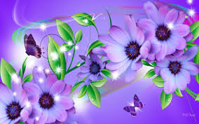 purple daisies and butterflies wallpaper