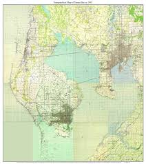 Map Of Tampa Florida Tampa Bay Florida 1945 Topo Map A Composite Made From 15 Old