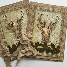 sewpaperpaint oh deer fall woodland cards with tim holtz sts