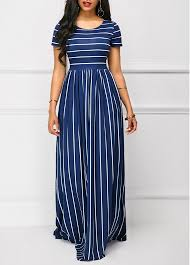 navy maxi dress stripe print high waist sleeve navy maxi dress modlily