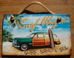 beach signs home decor surf sand sun woody surfboard surfer wagon tropical beach sign